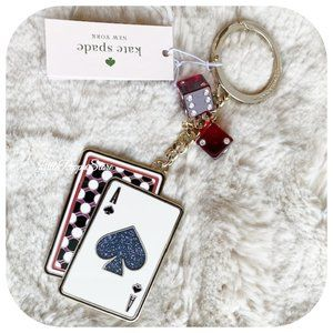 KATE SPADE LUCKY DRAW CARD W/ DICE KEY FOB